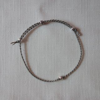 ~M+Bear~*Simple and simple*Grey Simple Fine Bracelet 925 Sterling Silver Japanese Wax Line