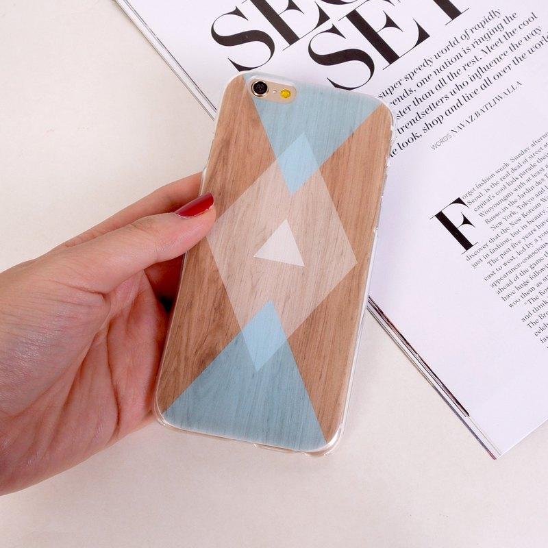 香港原創設計  粉藍色幾何木紋圖案  iPhone X,  iPhone 8,  iPhone 8 Plus, iPhone 7, iPhone 7 Plus, iphone 6/6S , iphon