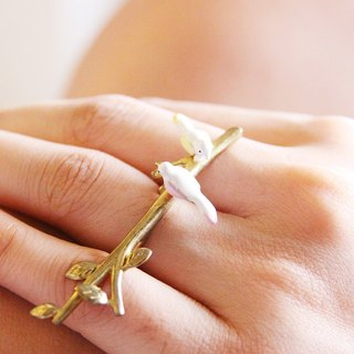 Two Little Birds on Golden Branch Double Ring