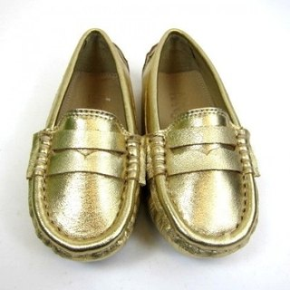 Fort Tony Wang leather handmade shoes kids [sheep / bean bottom / Gold]