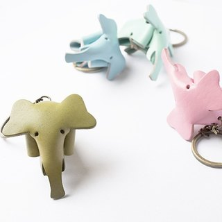 * Birthday present * Little OH! Handmade leather elephant key ring Customized - graduation gift