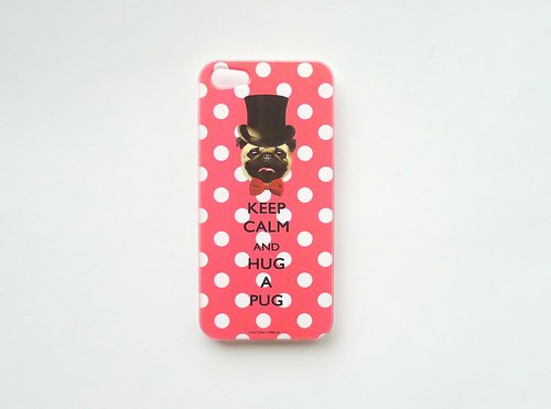 [ YONG ] Keep Calm & Hug A Pug iPhone Case (Pink)