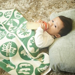 [Eli] births Sweden Klippan organic cotton warm blanket - Little Monsters (grass green)