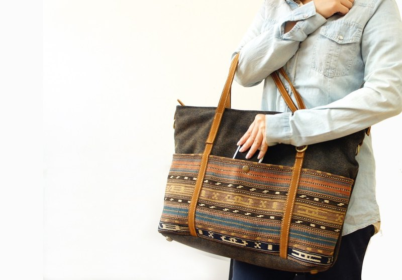 [Happa] canvas tote generous - kilim hand knitting subsection (Black Coffee Black)