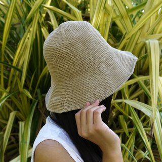 Mama の hand made hats - handmade cotton rope crocheted hat / wide-brimmed hat - Khaki / gift / Valentine's Day