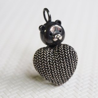 Shabon Lee silver designer toy jewellery figure - Bear Alliance - Original Classic Dark Turkish  Bear holding the Weave love. Exclusive 925 sterling silver action figure necklace pendant.