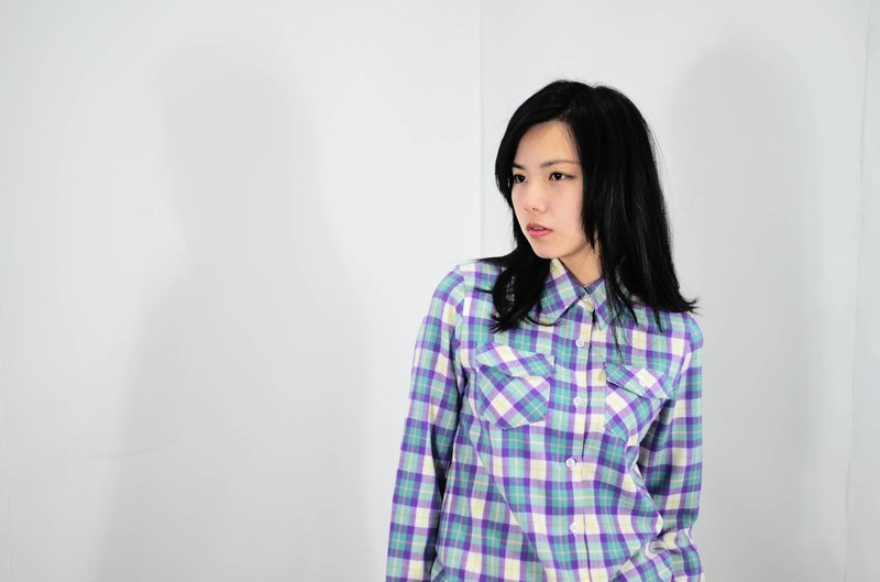 humming-Checked Shirt / Violet