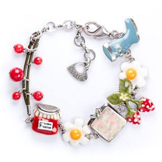 【Taratata pomegranate bracelet】 French Paris handmade cold enamel strawberry pomegranate romantic bracelet European style handmade jewelry
