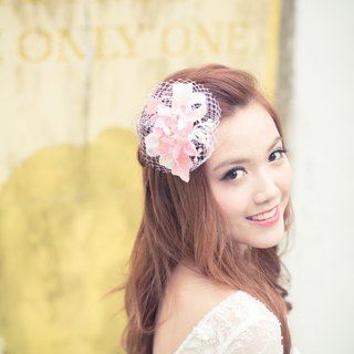 Bridal headpiece - Pink velvet hydrangea on white sinamay double bows on comb