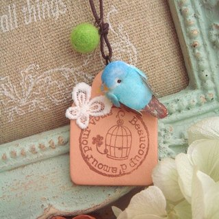 Garohands Dream forest bird small blue bird cage leather-feel in the long chain of forest-based gift A303