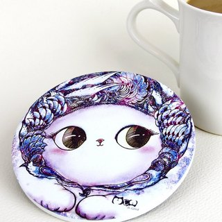 Good meow kawaii ka wa い い hand-painted ceramic absorbent coasters group ~ ♥ (a set of four)