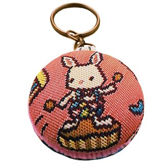 Jacquard weave Videos macarons keychain bag [material] happy pink mini-circus