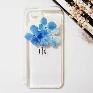 Pressed Flowers Phone Cases - Umbrella (Blue Hydrangea) Collection for iphone 5/5s/SE/6/6s/6 plus/6s plus/7/7plus/Samsung S4/S5/S6/S6Edge/S7/S7Edge/Note3/Note4/Note5