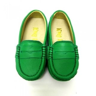 Fort Tony Wang leather handmade shoes kids [sheep / soled / green]