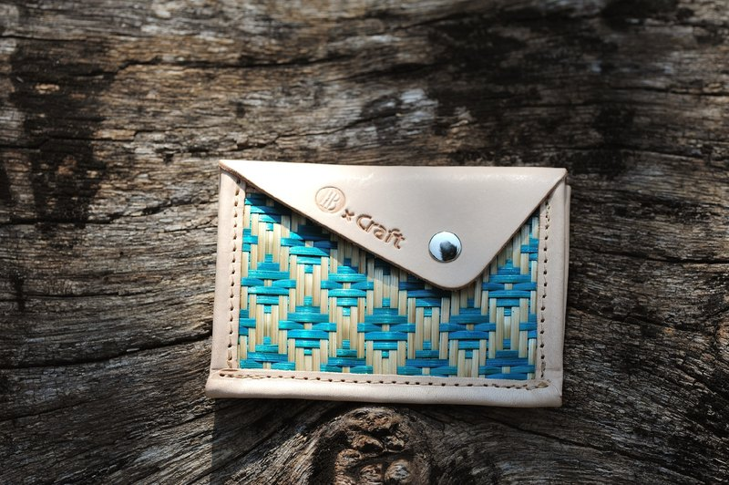 Business card holder / ticket holder - bamboo small blue
