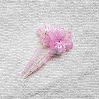 Thousand cherry blossoms, heavy cherry, fan-shaped hairpin, hairpin - pink