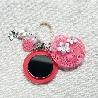 Diamond flower painting, mirror, mobile phone strap, key ring - pink