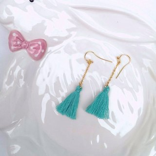 (Hypoallergenic) macaron earrings - peacock blue and green