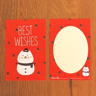 * Mori Shu * Christmas and New Year cards - chubby kitty snowman (with envelopes)