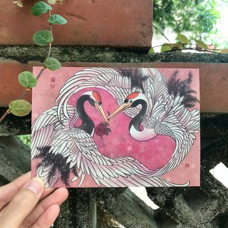 Story Postcard / Card - Rose / Red-crowned Crane - Dance Love