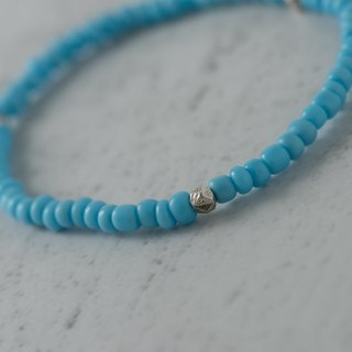 [] Woody'sHandmade sky. Baby blue glass bracelets, b section, alloy spacer beads
