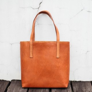 Classy Hand Stitched Tan caramel leather tote bag