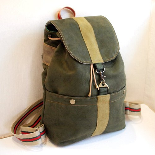 After 1pinfun a chain chamois cloth beam port backpack shoulder dark green *