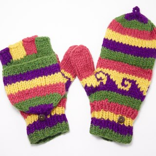 New Year's gift limit a hand-woven pure wool knit gloves / detachable gloves / bristles gloves / warm gloves - hit color national totem