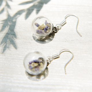 / Forest Department / plain glass ball earrings - Lavender + Crystal grass forest (can be changed cramping)