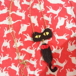 Crochet Crash cat all embroidery Necklace