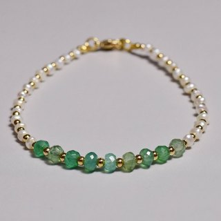 [If] Sang | dream | Yu Mori. Natural mini pearls. Green Agate import section. Fine Bracelet