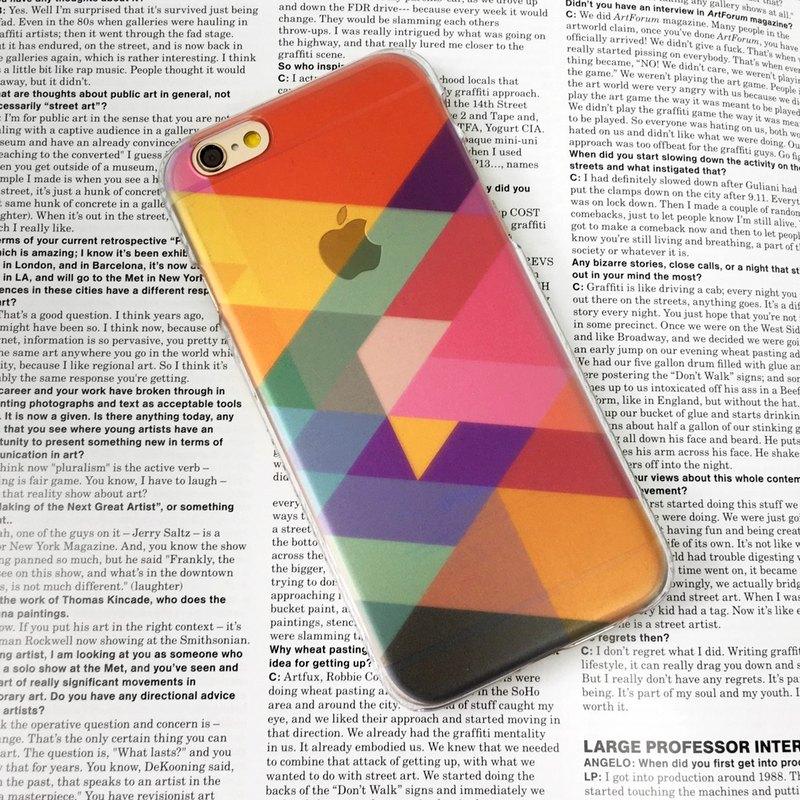 香港原創設計 彩色幾何透明圖案 iPhone X,  iPhone 8,  iPhone 8 Plus,iPhone 7, iPhone 7 Plus, iphone 6/6S , iphone 6/
