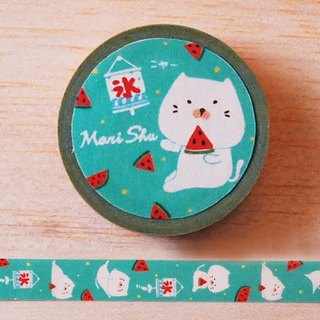 *Mori Shu*and paper tape - bun cat watermelon subsection (green)