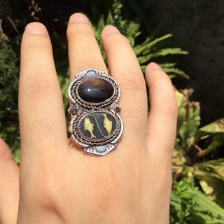 O 'NIU constellation relief and obsidian guard ring