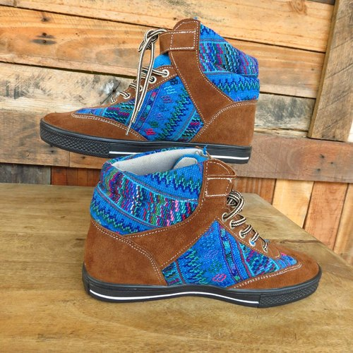 GUATEMALAN BLUE EMBROIDERY & LEATHER SNEAKERS