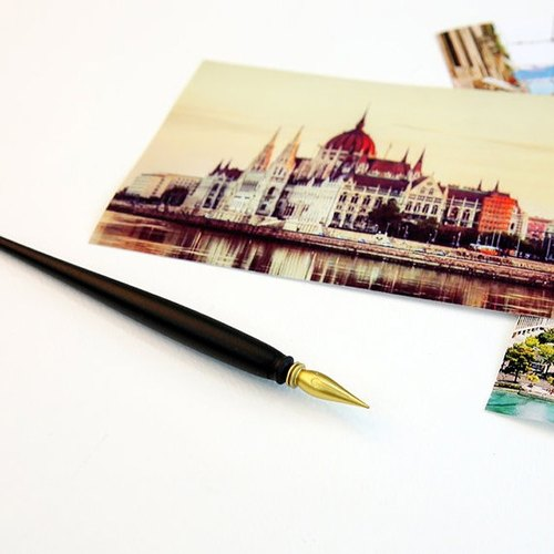 Lago - hand scraping the city golden night - special scratch pen, LGO93324