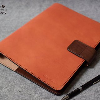 YOURS leather loose-leaf notebook / invisible magnetic buckle - B5-Size bright orange + dark wood color leather