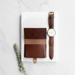 [ADOLE] leather hand made DIY set - business card holder - Jiao brown
