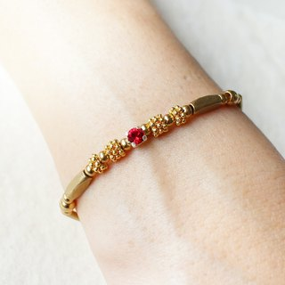 EF Golden Years NO.127 brass wreath red rhinestone bracelet