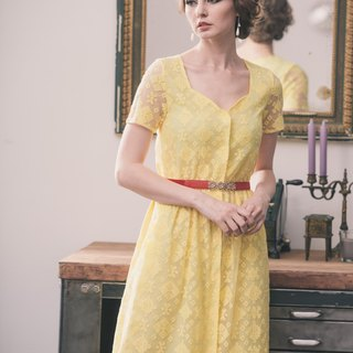 Kan's Peach Collar Embroidered Lace Long Dress (Cream Yellow)