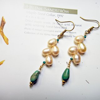 Maung pearl earrings ◎ branch turquoise brass ear hook *