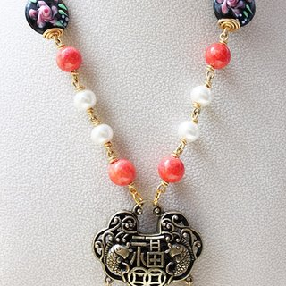 Chinese Lock Necklace - Black Lazurites and Orange Red Stone with Crystal Pearl Necklace