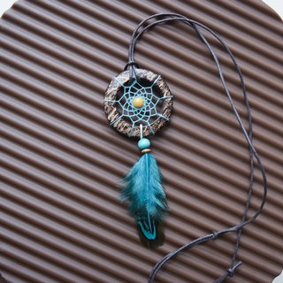 Dream Catcher // Necklace // Wooden // Blue