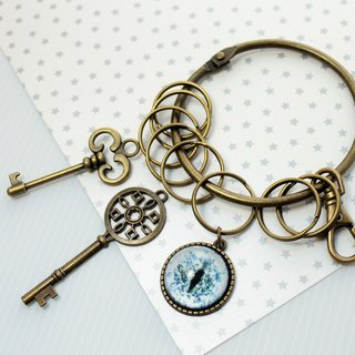 Cat EYE 25mm cat's eye + key charm retro wind big key ring
