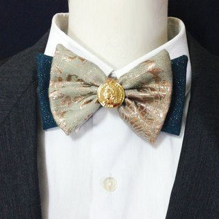 Gold coin and green jacquard bow tie
