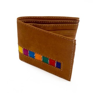 皮革及瑪雅刺繡口袋式皮夾LEATHER & MAYAN EMBROIDERY POCKET WALLET