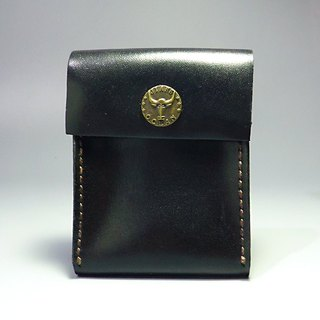 [Mania] ANITA hand-made classic handmade leather stiff ‧ Multipurpose bright minimalist black purse / can put money card / business card package - Specials