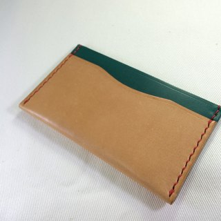 Rever Leather Italian leather hand-stitched leather-color card sets of leather card holder piece engraved name three primary color green bag can be used as a card with a short clip