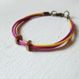 Square ring / brass handmade bracelet