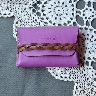 Fading Mist Leather Braided Strap Card Case